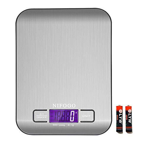 Balance Cuisine Electronique, Balance Numérique de Cuisine de Haute Précision 5kg/1g, Fonction Tare, LCD Rétroéclairé, 2 x AAA Alimenté par batterie, Auto-arrêt (Noir)