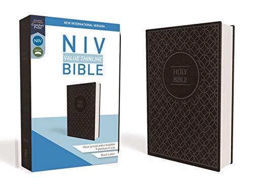 NIV, Value Thinline Bible, Leathersoft, Gray/Black, Comfort Print