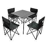 VeroMan アルミ アウトドア 70cm テーブル チェア 折りたたみ式 収納バッグ付き キャンプ ピクニック 釣り BBQ 5点セット