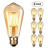 Dobee Bombilla LED E27, Edison Vintage Bombilla Cálido 4W ST64 2600-2700K...