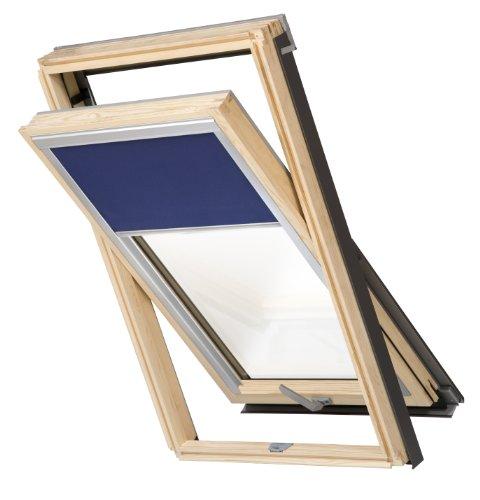 Balio Dachfenster Holz incl. Verdunkelungsrollo und Eindeckrahmen 0-50mm (78 x 134)