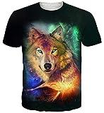 Goodstoworld Herren Wolf 3D Tshirt Grafik Drucken Print Sommer Bunte Kurzarm Rundhals Tshirt Tee T Shirt M