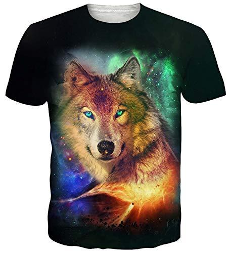 Goodstoworld Gracioso Galaxy Espacio Lobo Imprimir Camisetas Cuello Redondo Camiseta tee Tops Verano Personalizado para Mens Womens XL