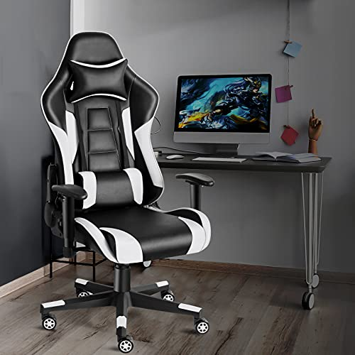 Twomaples Gaming Chair, Ergonomic Office Chairs, Home Games Racing Computer Desk Chairs for Adults & Teenagers, Adjustable Armrest, Height, Angle, 360° Swivel (Black/White)