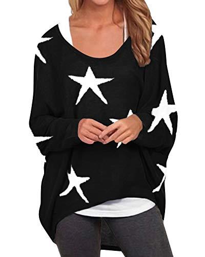 ZANZEA Damen Langarm Blumen Sweatshirt Asymmetrisch Jumper Pullover Oversize Tops schwarz X-Large