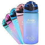 Azebo Botella de agua grande con marcador de tiempo y colador extraíble, Tritan, sin BPA, no tóxico, para deportes de fitness al aire libre y en la oficina, E3SHS001 púrpura/azul gradient de 550 ml