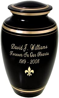 Memorial Gallery Black and Gold Brass Customizable Cremation Urn (10