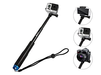 ProsPole Extendable Pole an Aluminium Telescopic Monopod Extension & adjustable Selfie Stick for Gopro Hero 4 Session Black Silver Hero 2 3 3+ 4 and other Action Cameras