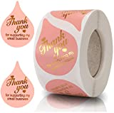 Thank You for Supporting My Small Business Stickers, Thank You Stickers with Gold Foil, 500 Pieces Per Roll, Pink Seal Labels