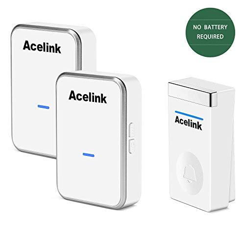 Funkklingel, Acelink Funk Türklingel 200m Reichweite Funkklingel ohne Batterien mit 2 Empfänger, IP44 Außenbereich Wasserdicht Funkklingel Weiß