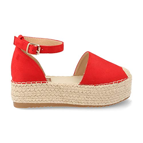 Sandalia de Mujer con Plataforma de 5 cm Yute y Correa Ajustable al Tobillo Primavera Verano 2019. Talla 40 Rojo