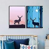 Pintura sin Marco Nordk elk Night Landscape Poster y Wall Art Print Lienzo Moderno decoración del hogar ZGQ3159 60X90cmx2