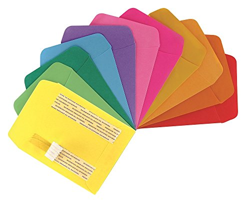 Hygloss Self-Adhesive Library Folder Pocket, 5' x 3.5' x 7', 10 Assorted Colors, 30 Count