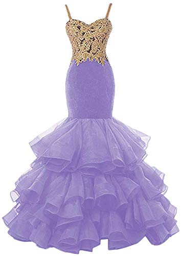 HUINI Abendkleider Meerjungfrau Prinzessin Brautkleider Standesamt Brautmode Hochzeitskleid Organza Ballkleider Lang Lila 46