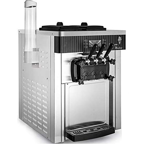 BuoQua Máquina de Helados Soft Heladera Maquina Helados Soft Comercial Maquina Helados Soft con 2 + 1 Sabores Vertical Ice Cream Maker 2200W Máquina de Helado de Servido Suave 6L*2