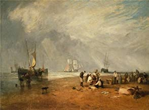 'Joseph Mallord William Turner,The Fish Market At Hastings Beach,1810' Oil Painting, 16x22 Inch / 41x55 Cm ,printed On High Quality Polyster Canvas ,this High Quality Art Decorative Prints On Canvas Is Perfectly Suitalbe For Home Theater Decoration And Home Gallery Art And Gifts
