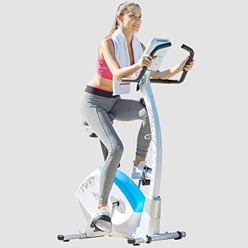 HARISON Stationary Upright Exercise Bike with Magnetic Resistance for Indoor Home Gym Cardio Workout (White)