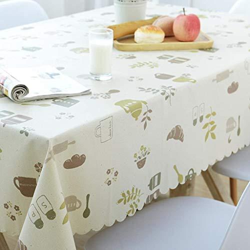 Mantel de PVC de 86XH de tela pastoral impermeable y a prueba de grasa, mantel de PVC desechable de plástico rojo mesa de café rectangular-b 90x150cm (35x59inch) qiuliyin