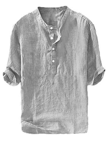 Heren linnen hemd korte mouwen Henley hemd katoen vrije tijd vishemd licht slim fit casual shirt zomer tops