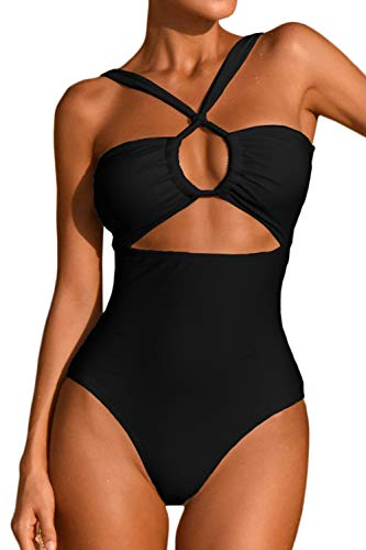 LEISUP Plus Size Womens Bandeau Tie Back Push Up High Cut One Piece Swimsuit,Black XL