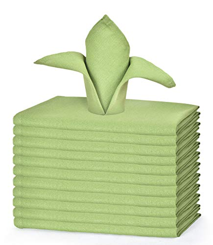 GLAMBURG Cotton Dinner Napkins Set of 12, Cloth Dinner Napkins 18x18, Soft and Comfortable Cocktail Napkins, Wedding Dinner Napkins, Christmas Napkins, Machine Washable - Green