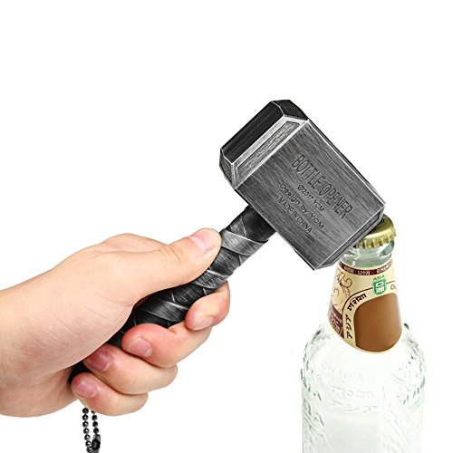 QIHANG-US Hammer Shaped Bottle Opener Belt Unique Keychain for Gift Party Favors Club Bar Silver