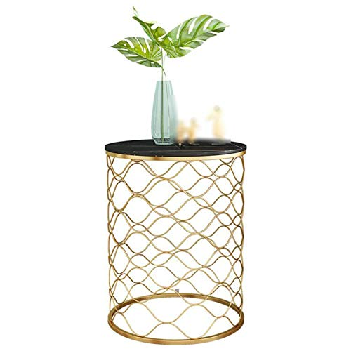 Bedroom Bedside Table, Golden Wrought Iron Round Side Table Living Room Bedroom Sofa Table Reception Coffee Table(Size:50 * 50 * 56CM,Color:B)