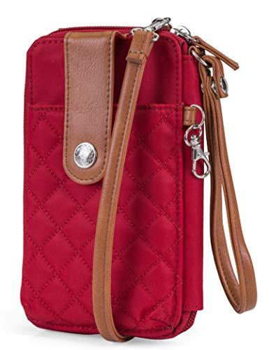 MUNDI Jacqui Vegan Leather RFID Womens Crossbody Cell Phone Purse Holder Wallet (Red Nylon)