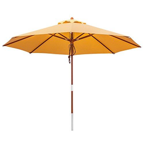 anndora 35006 Sonnenschirm, sahara gelb, 350 cm rund, Gestell Holz, Bespannung Polyester, 13.5 kg