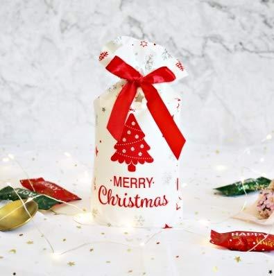 【Fuwari】 クリスマス ラッピング袋 ギフトバッグ 巾着袋 50枚 SET リボン付き マチ付き プレゼント (D)