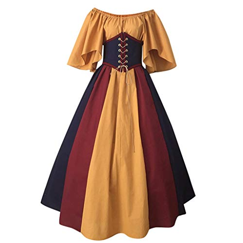 Women Plus Size Medieval Dress Renaissance Lace Up Vintage Gothic Floor Length Hooded Cosplay Dresses Retro