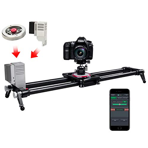 ASHANKS Electric Camera Slider,ASHANKS Motorized with Handle Flywheel Bluetooth APP Control Carbon Fiber Track Dolly Rail TimeLapse and Video Shot Slider for DSLR Cameras