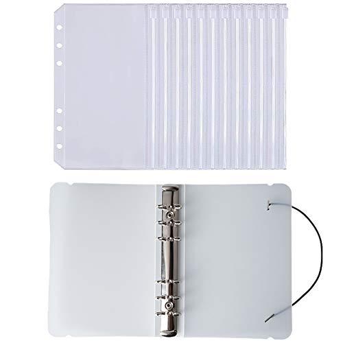 YEYIT 11er Pack Set A6 Ringbuch, Matte Schale, Kunststoff Transparenter Wasserdichter Bargeld Budget Umschlag, 10 Reißverschlussbinder Aktenfächer mit Löchern