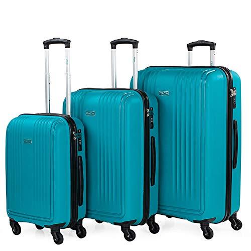 ITACA - Juego de Maletas de Viaje Rígidas 3 Pzs. Set Trolley 4 Ruedas (Cabina + Mediana + Grande) Resistentes y Robustas. Conjunto Equipaje Avión. 760300, Color Turquesa