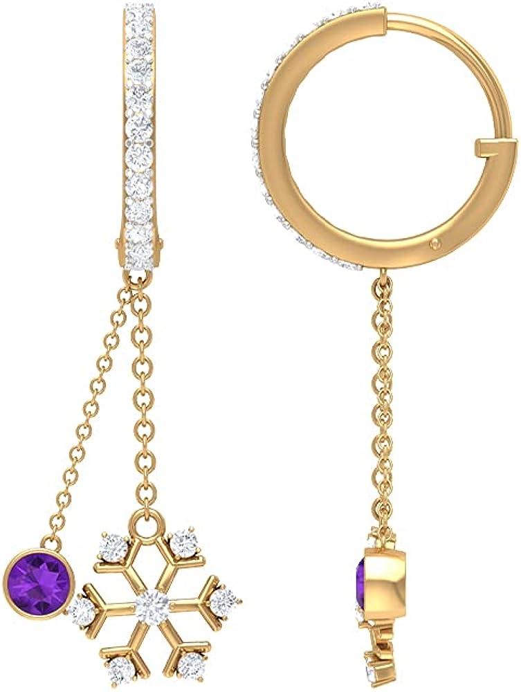 3/4 CT Bezel Set Amethyst Dangle Earrings with Snowflake Diamond (AAA Quality), Clip-On