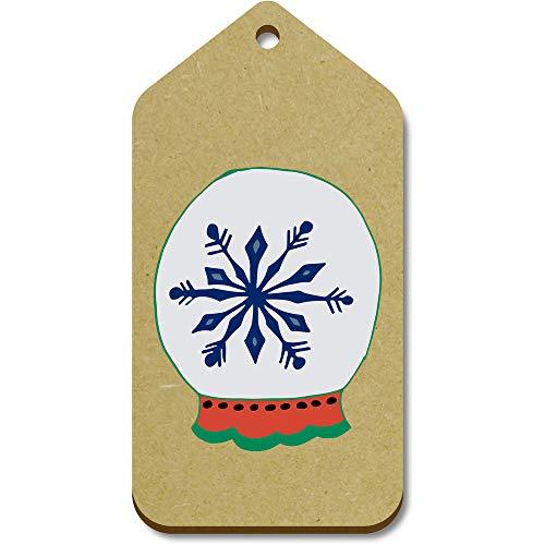 Azeeda 10 x Large 'Snowflake Snow Globe' Wooden Gift Tags (TG00096338)