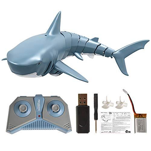 Goolsky Mini RC Tiburón Juguete de Control Remoto Nadar Juguete Bajo el Agua RC Barco Piscina de Juguete de Parodia de Barco de Carreras Eléctricas (con Batería)