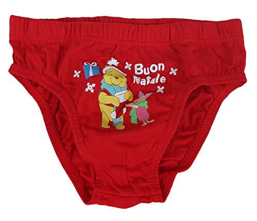 Uno Slip Mutandina Mutanda per Bambino Bimbo Disney Winnie The Pooh Rosso Natale (8-9 Anni)