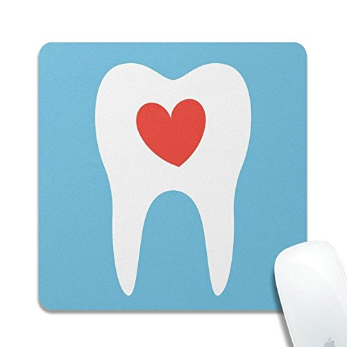 Personalized Tooth Silhouette Love Heart Dentist Dental Offical Desktop or Gaming Cloth surface Natural rubber Square Mouse Pad Mousepad