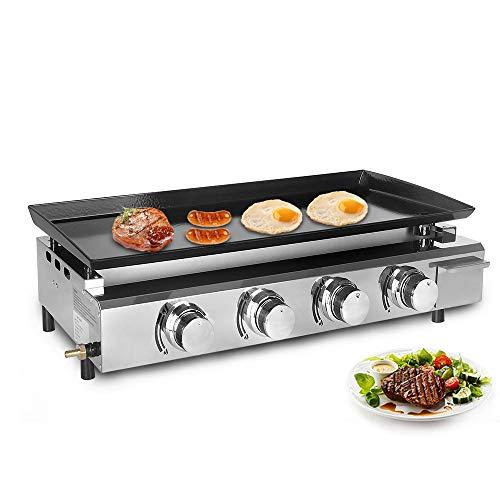 BBQ Barbecue 4 brûleurs LPG Plaque Fer Acier inoxydable Corps + Brûleur Fonte Hot Plate Outdoor Grill Viande Steak Plaque de cuisson