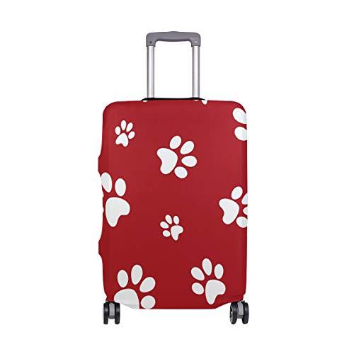 FANTAZIO - Funda Protectora para Maleta, diseño de Huellas de Perro, Color Rojo