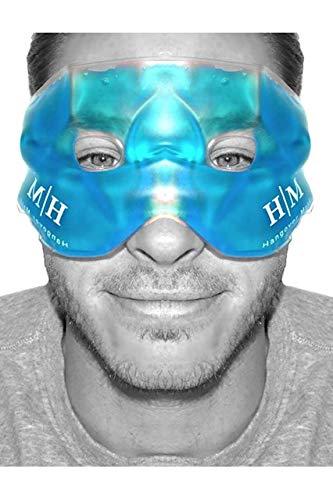 Máscara de gel reutilizable en frío o en caliente para aliviar la hinchazón de la cara, los ojos cansados, los dolores de cabeza, resaca, migrañas y ojeras