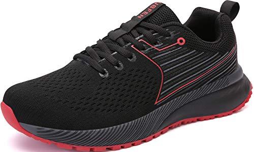 UBFEN Zapatillas para Running Hombre Deportivas Deportivo Zapatos para Correr Casual Walking 46 Negro Rojo