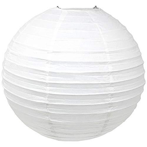 Just Artifacts 16-Inch White Round Chinese Japanese Paper Lantern (1pc, White)