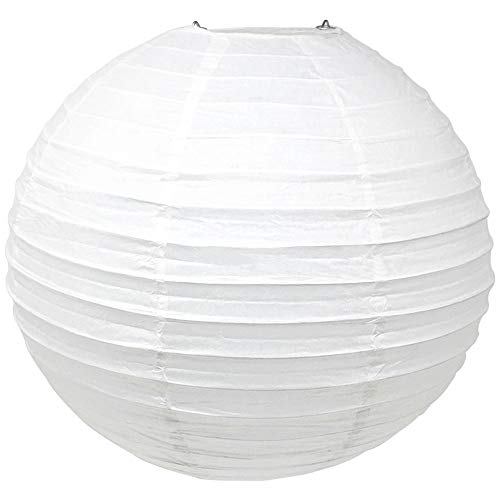 Just Artifacts 24-Inch White Round Chinese Japanese Paper Lantern (1pc, White)