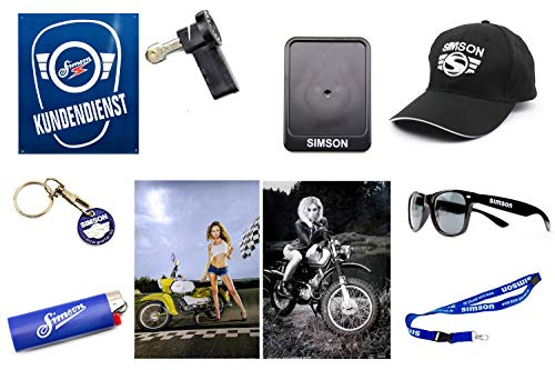 SIMSON FAN SET 10-teilig Basecap Sonnenbrille Blechschild 'KUNDENDIENST' Kennzeichenhalter 2x A1 Poster Schlüsselband Schlüsselanhänger Feuerzeug Zündschlüssel