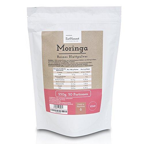 Moringa Oleifera Blattpulver von Eat Honest – 100% reines Moringa-Pulver – Vegan – Premium-Qualität – ohne künstliche Zusätze - 250g für 50 Portionen – hergestellt in Deutschland