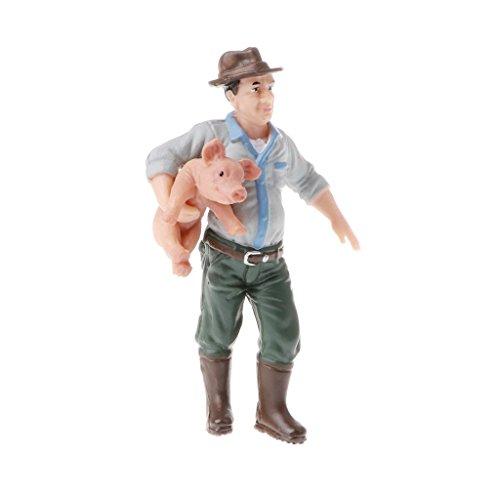 Taotenish People Model Figure Simulation PVC Action Figure Toy Farmer Peasant Figurines Toy - Farmer Holding Pig Action Figures