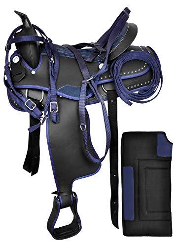 Juego de silla de montar y tachuela de caballo de carreras de barril sintético occidental. Tamaño (35,5 cm - 45,7 cm)