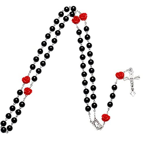 Froiny 1 Pc Collar Cruz Religioso Beads Cadena Perla Joyería Regalos para Mujeres Madre Hija
